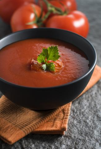 Smoky Tomato Soup with Candied Bacon