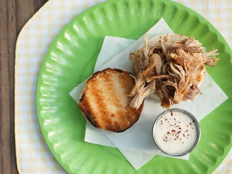 Mesquite Pulled Chicken Sandwiches with Alabama Sauce