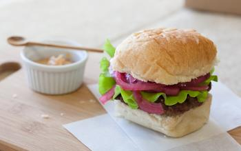Bison Burgers with Smoky Mayo and Quick Pickled Red Onions