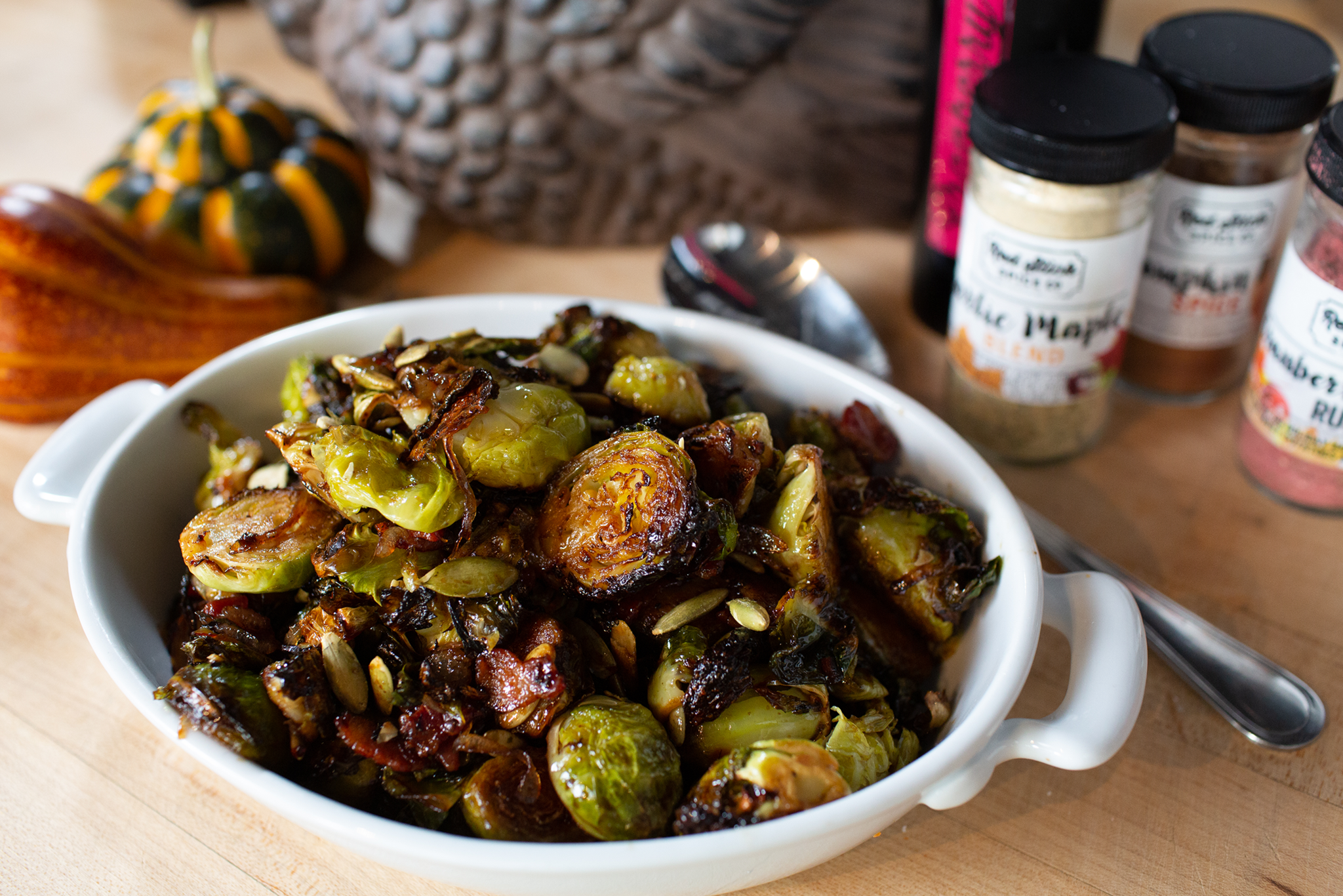 Cast Iron Brussels Sprouts with Bacon and Cranberry Balsamic