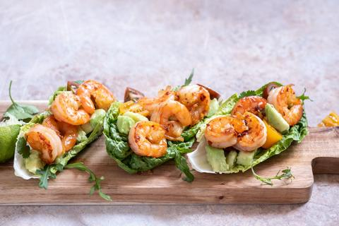 Lime & Habanero Shrimp Lettuce Tacos with Avocado
