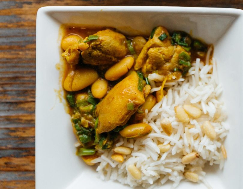 Iranian Braised Chicken, White Beans and Scallions