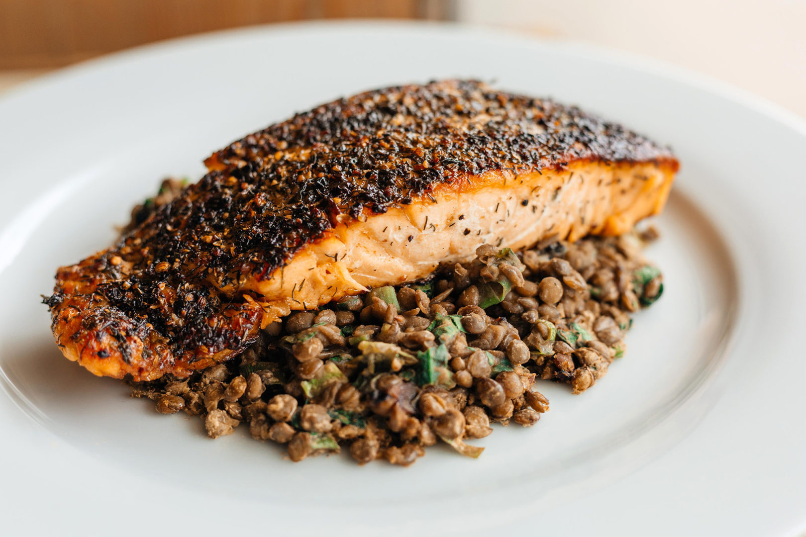 Lemon Lime Salmon with French Green Lentils