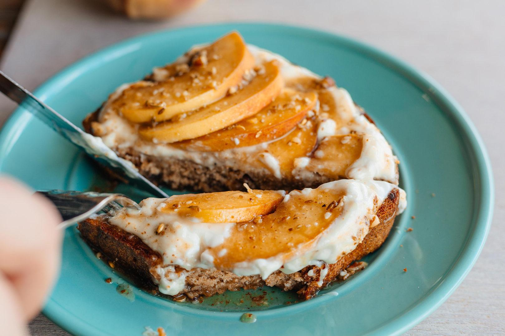 Seeded Honey Peach Goat Cheese Toast