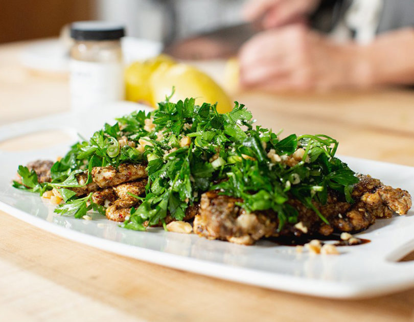 ZAHTAR CHICKEN CUTLETS WITH PARSLEY SALAD