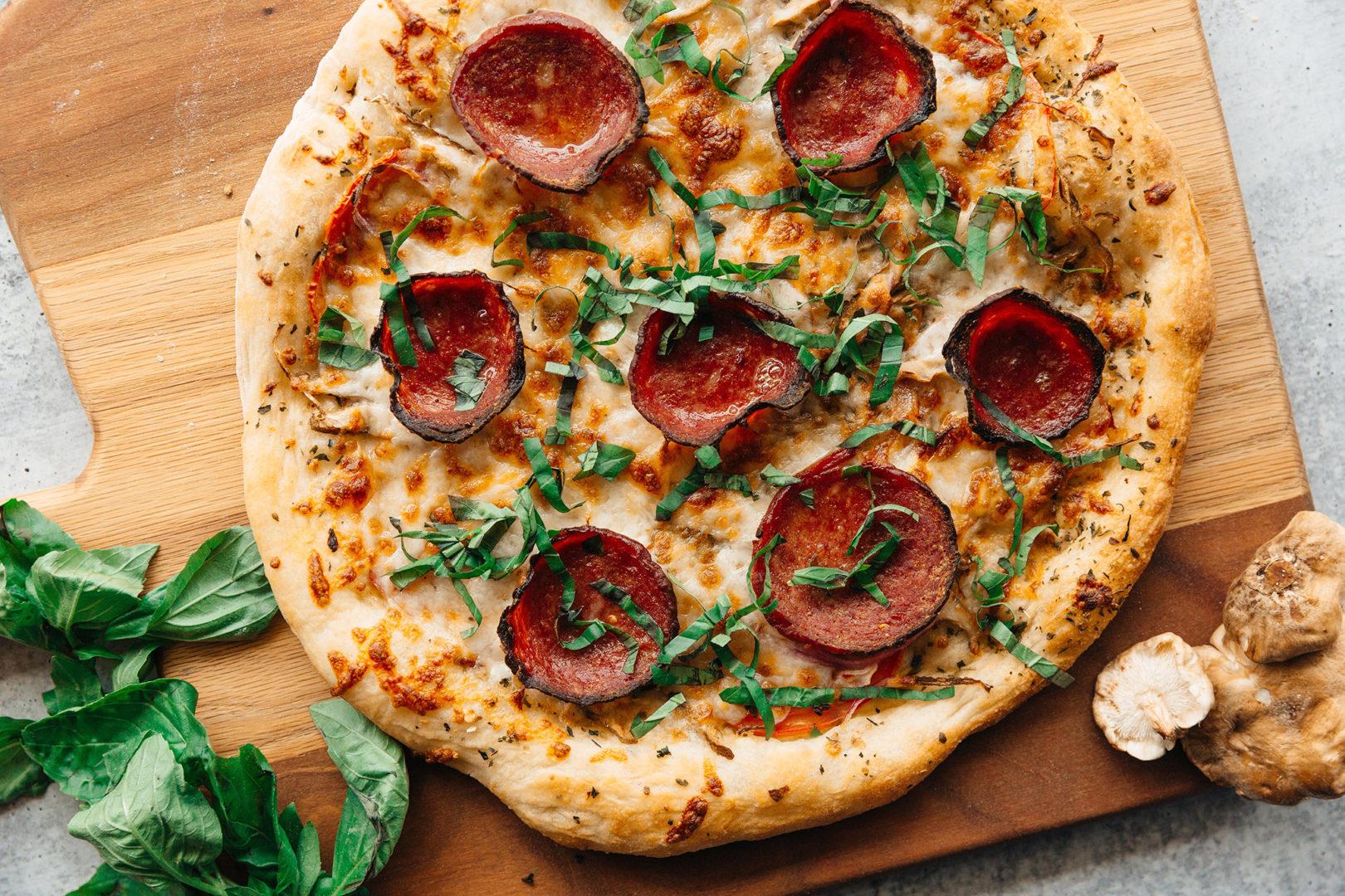 Pepperoni, Mushroom & Fresh Tomato Basil pizza