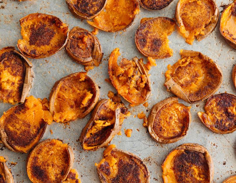 Rosemary Roasted Smashed Sweet Potatoes