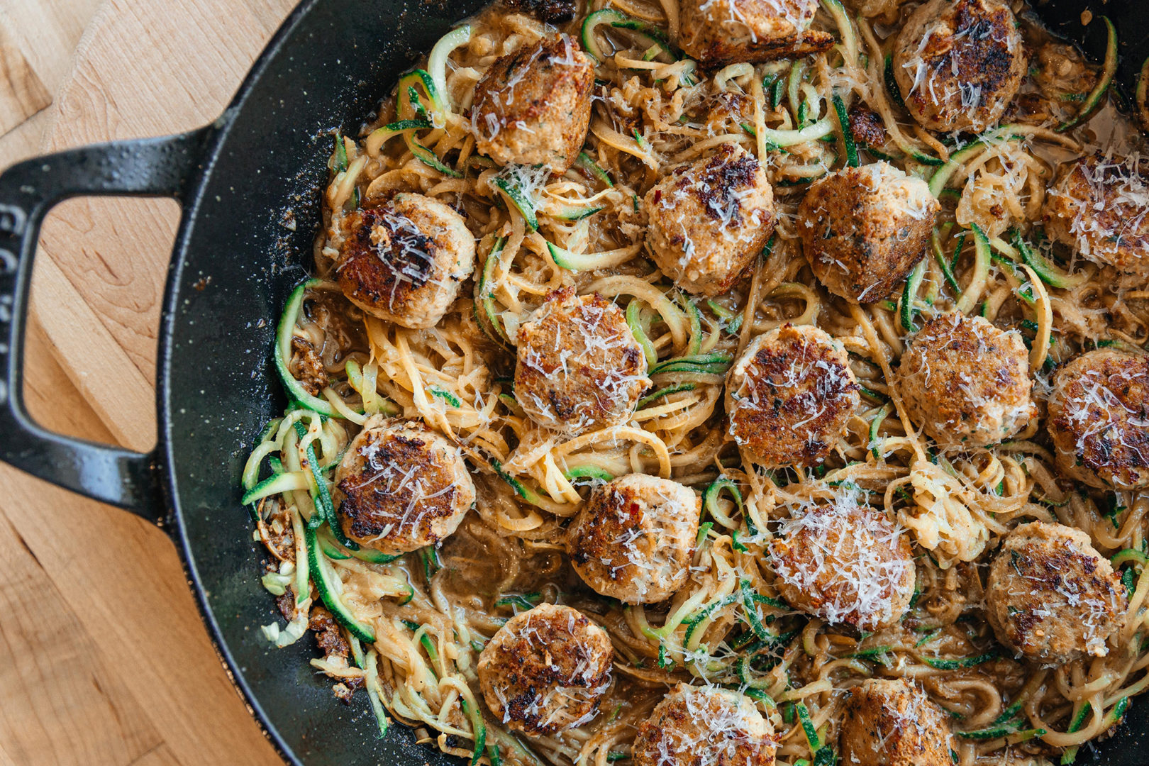 Keto Chicken Meatballs with Browned Butter Zoodles and Manchego