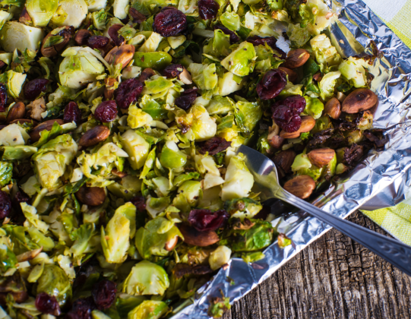 Shredded Brussels Sprouts with cranberries & pistachios
