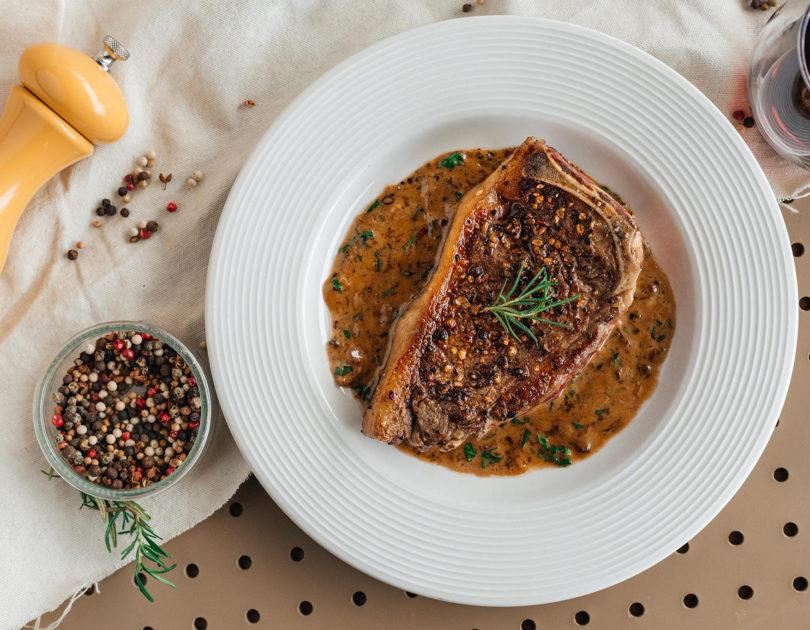 Steak au Poivre with Brandy Butter Sauce
