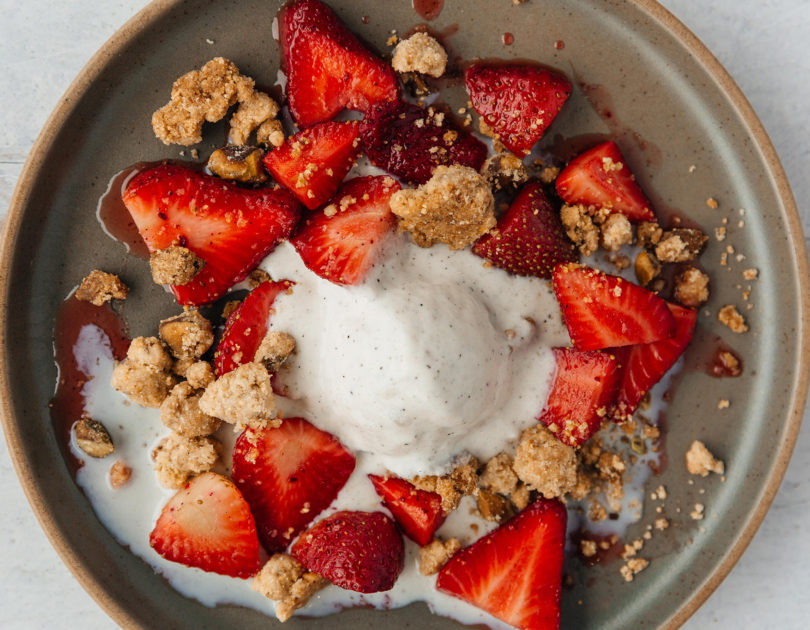 Louisiana Strawberries with Ice Cream and Salted Pistachio Cookie Crumble
