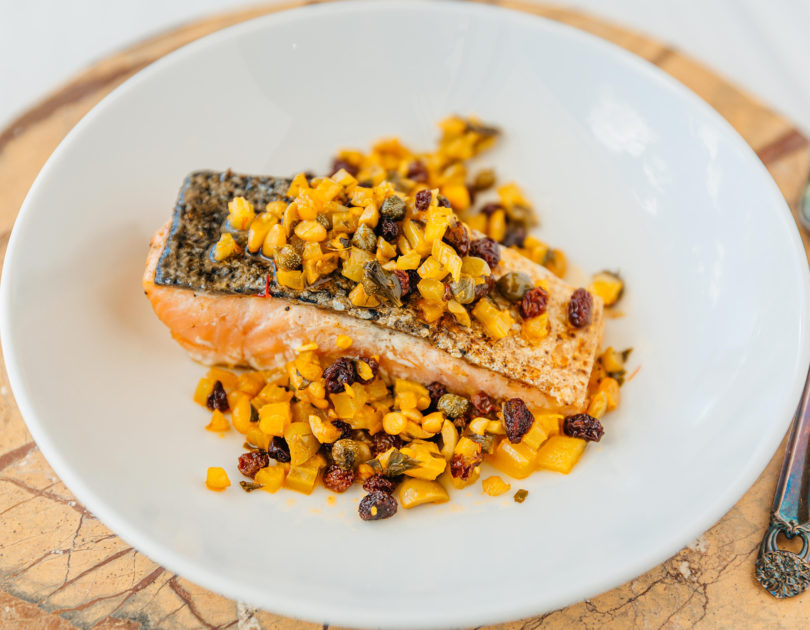 Seared Salmon with Pine Nut & Currant Salsa