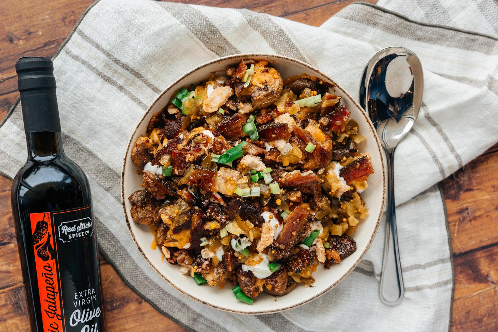 Crispy Cheesy Loaded Texas-Style Potatoes
