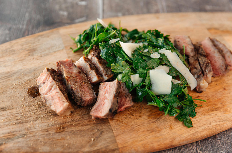 Grilled New York Strip with Parsley & Parm