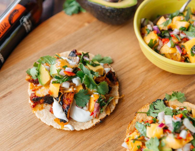 Chicken VolcÁnes Street Tacos with Mango Salsa