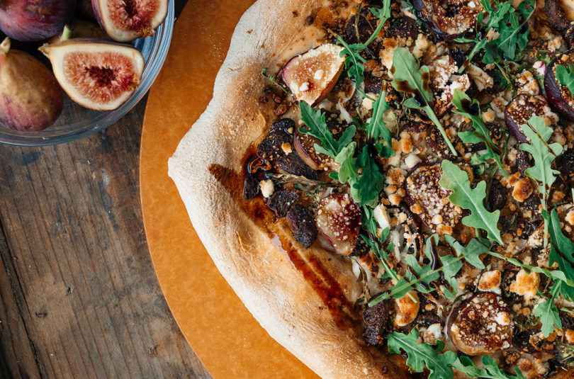 Duck Flatbread with shallot and Figs