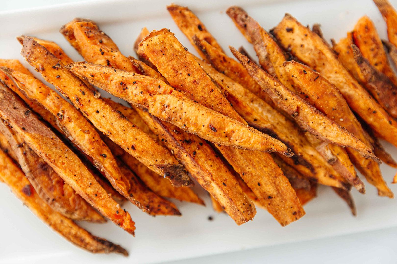 coffee sweet potato fries with bbq sauce